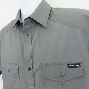 Volcom Stone Gray Shirt Mens Large SS Cotton Blend